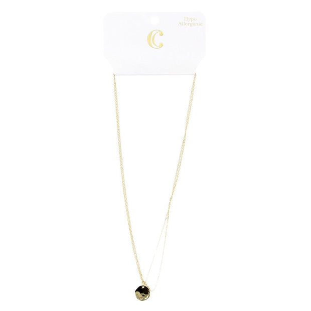 Double Strand Layered Short Pendant Necklace - Gold