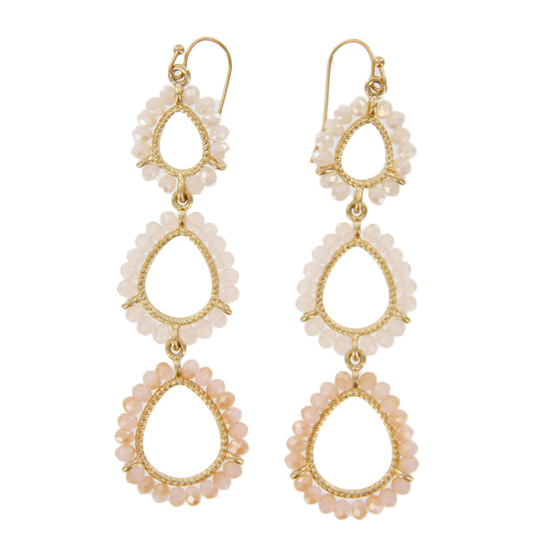 Bead Graduated Linear Teardrop Earrings