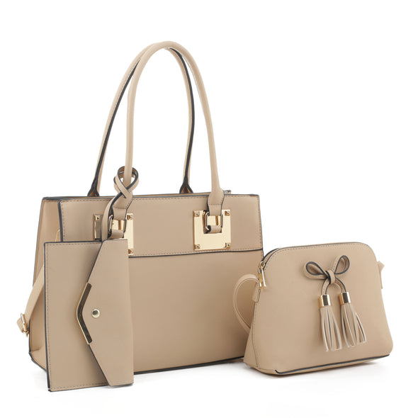 3Pc Satchel With Crossbody And Wristlet
