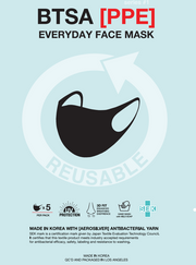 Reusable Washable Face Mask - Pack of 5 in Black