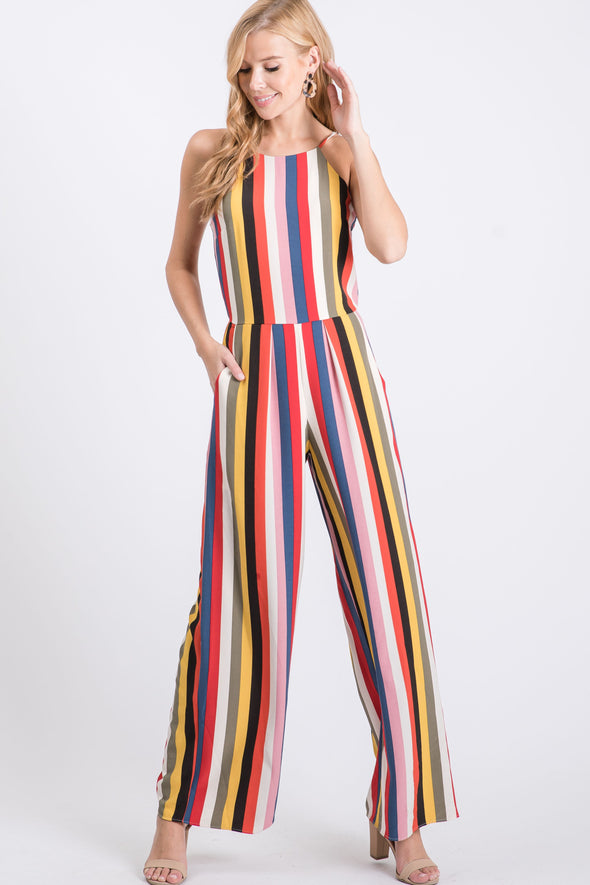 Women's Sleeveless Woven Multi Stripe Jumpsuit