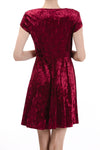 Short Sleeve Round Neck Fit & Flare Dress, Burgundy - Charming Charlie