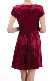 Short Sleeve Round Neck Fit & Flare Dress, Burgundy