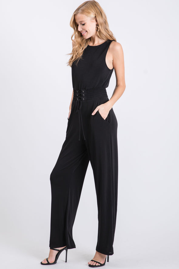 High Neck Cinch Waist Jumpsuit