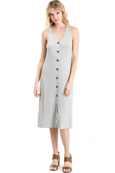 Button Front Sleeveless Shift Dress, Grey