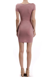 Short Sleeve Round Neck Side Ruching Dress, Mauve - Charming Charlie