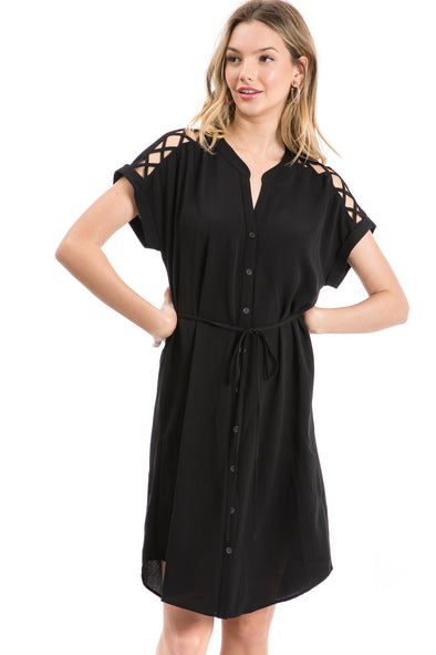 Women's Short Sleeve Woven Button Front Dress