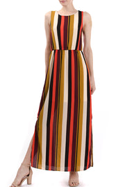 Sleeveless Cinch Waist Maxi Dress, Multi Stripe - Charming Charlie