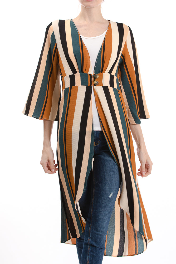 Long Sleeve V-Neck Duster Kimono, Multi Stripe - Charming Charlie