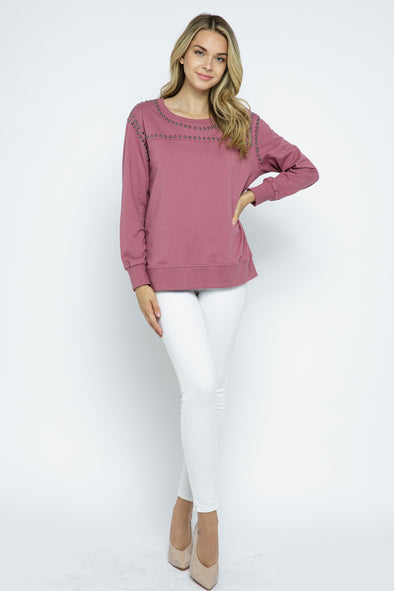 Long Sleeve Stud Sweatshirt
