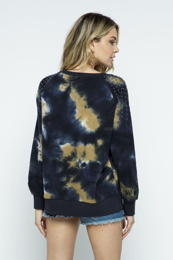 Long Sleeve Studded Tie Dye Sweatshirt