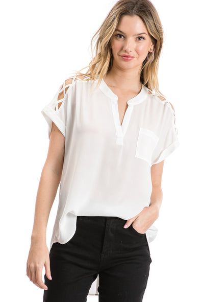 Women's Short Sleeve Woven Split Neck Blouse
