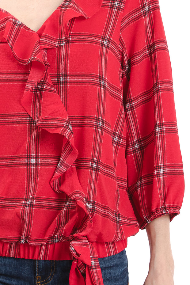3/4 Sleeve V-Neck Ruffle Front Wrap Top, Red Plaid