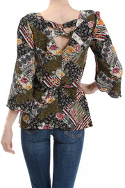 Bell Sleeve V-Neck Peplum Top, Multi Patchwork - Charming Charlie