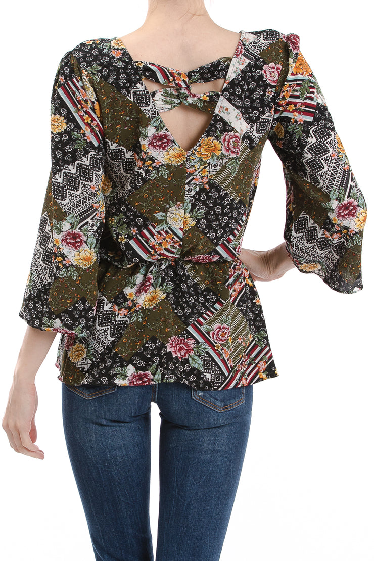 Bell Sleeve V-Neck Peplum Top, Multi Patchwork
