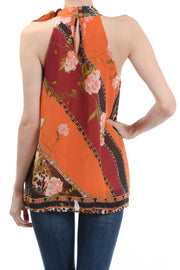 Sleeveless Mock Neck Halter Top, Orange Multi - Charming Charlie