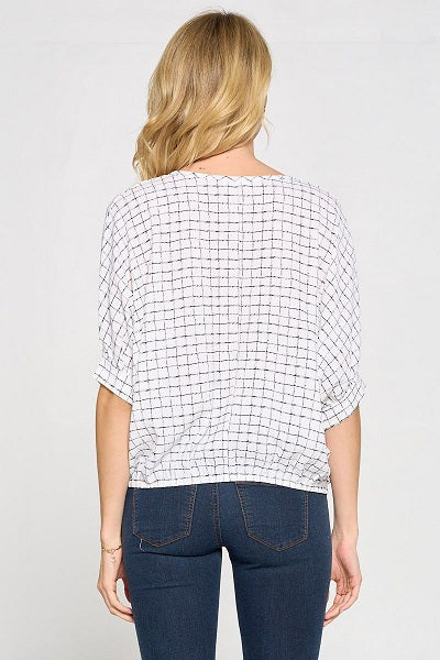 3/4 Sleeve Criss Cross Front Novelty Top
