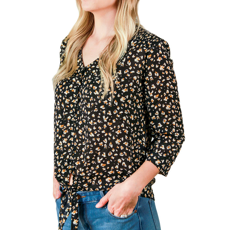 Tie Front Blouse - 3/4 Sleeves, V-Neck