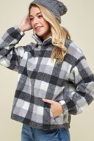 Fur  Plaid Pullover With  Half Zipper