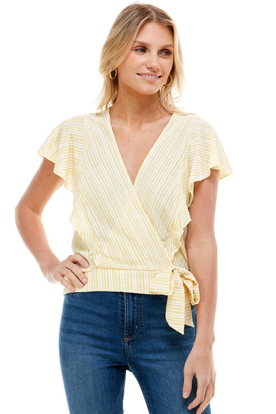 Cap Sleeve Surplice Wrap Top