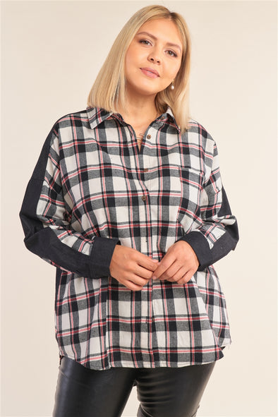 Junior Plus Size Ivory Relaxed Fit Asymmetrical Checkered Denim Cut-In Detail Long Sleeve Button Down Shirt