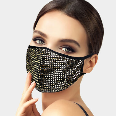 Gold MINI DOT SEQUINS FACE MASK