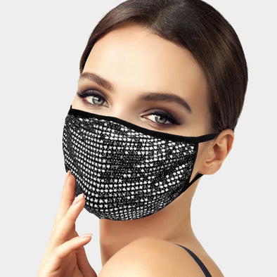 Silver MINI DOT SEQUINS FACE MASK