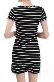 Short Sleeve Round Neck Dress, Black/Ivory