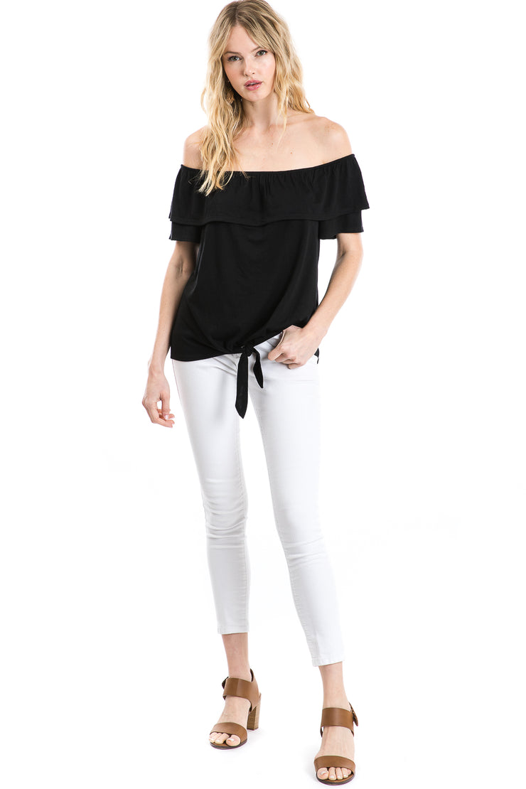 Off the Shoulder Tie Waist Blouse
