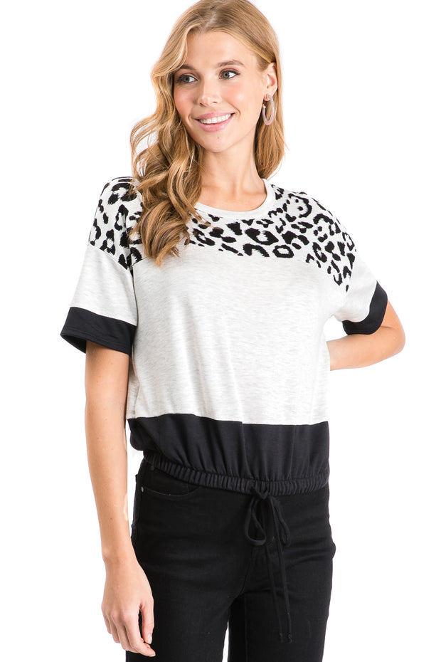 Cheetah Color Block Drawstring Top