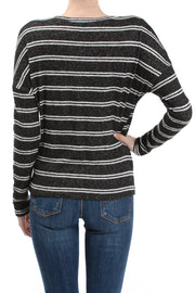 Long Sleeve Crew Neck Twist Hem Top, Black/Ivory - Charming Charlie