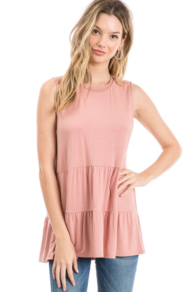 Knit Sleeveless Tiered Hem Tunic Top