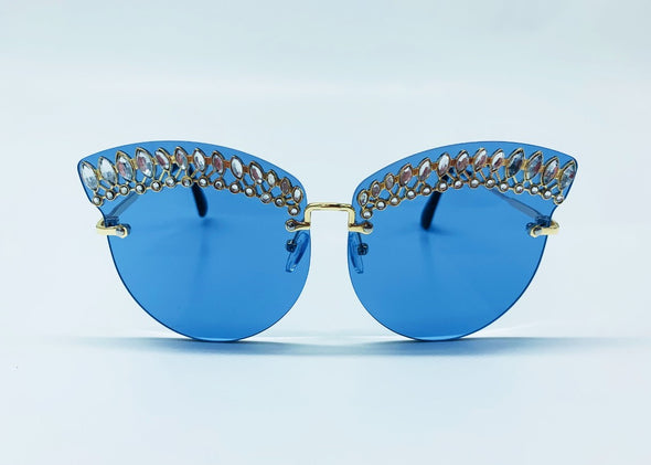 Rhinestone Embellished Brow Cat Eye Sunglasses - Blue & Gold