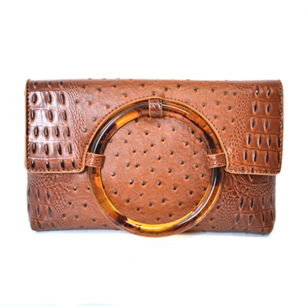Ostrich Clutch W Tortoise Shell Ring