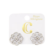 Swirled Open Metalwork Filigree Stud Earrings - Silver - Charming Charlie