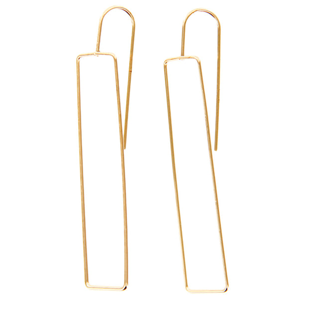 Open Wire Rectangle Drop Dangle Earrings - Gold