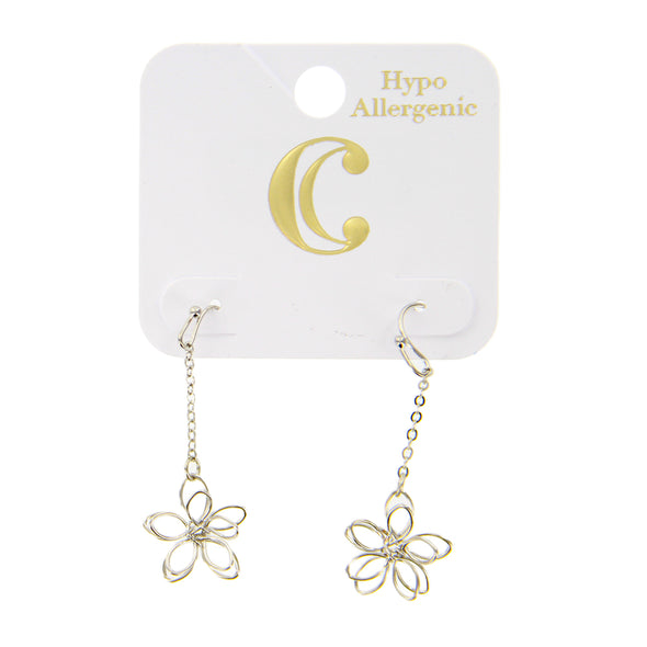 "2"" Delicate Wire Flower Linear Dangle Earrings - Silver - Charming Charlie"