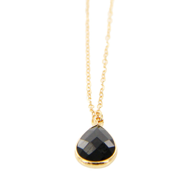 "16"" Teardrop Delicate Short Pendant Necklace - Black"