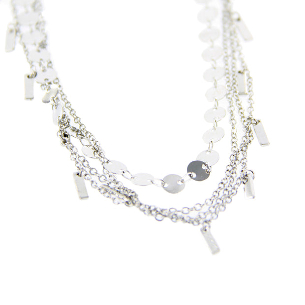 "14"" Delicate Metal Choker Layered Necklace - Silver"