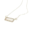 "16"" Shell and Rhinestone Bar Pendant Necklace - Silver - Charming Charlie"