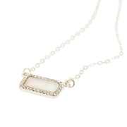 "16"" Shell and Rhinestone Bar Pendant Necklace - Silver"