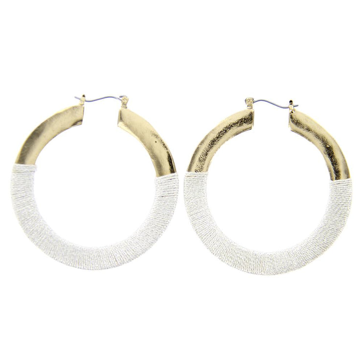 "2"" Metallic Thread Wrapped Hoop Earrings - Gold - Charming Charlie"