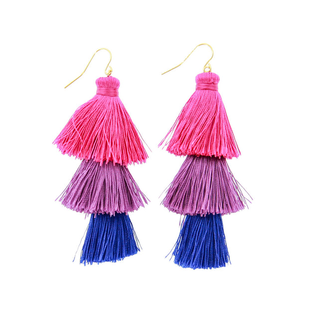 Fabric Tassel Statement Dangle Earrings - Pink