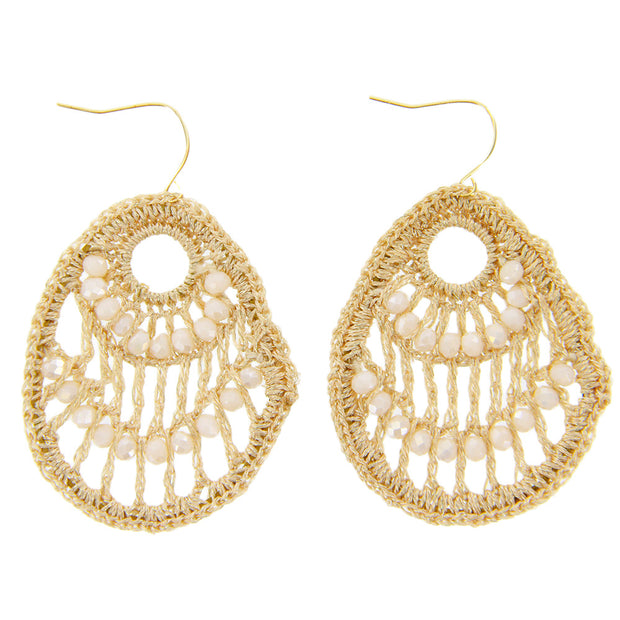 Teardrop Crochet Beads Dangle Earrings - Gold