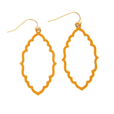 Painted Open Dangle Earrings - Hypoallergenic - Yellow - Charming Charlie