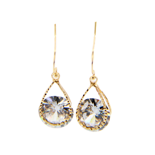 Cubic Zirconia Drop Dangle Earring - Steel Post, Gold - Charming Charlie