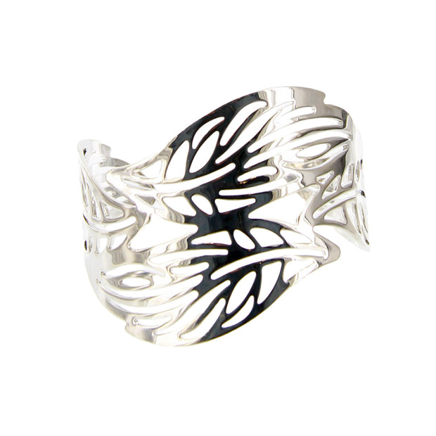 Carved Leaves Open Cuff Bracelet - Adjustable - Silver