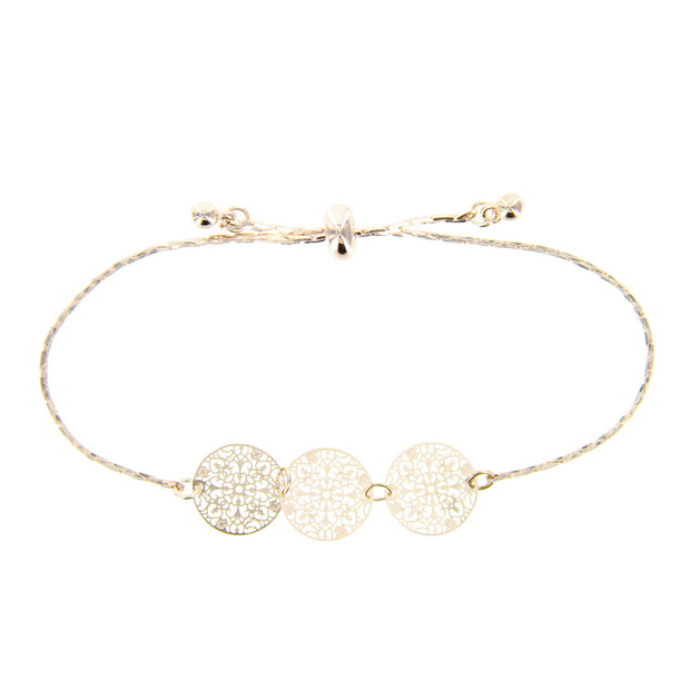 Delicate Filigree Adjustable Pull Bracelet - Rose Gold