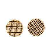 Textured Small Flat Button Stud Earrings - Rose Gold