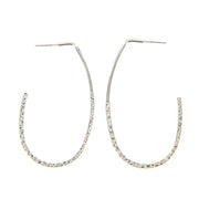 "2.5"" Hammered Elongated Oval Hoop Earrings - Silver - Charming Charlie"